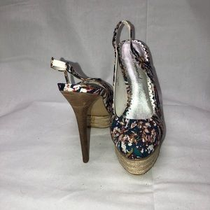 Floral and wicker high heels